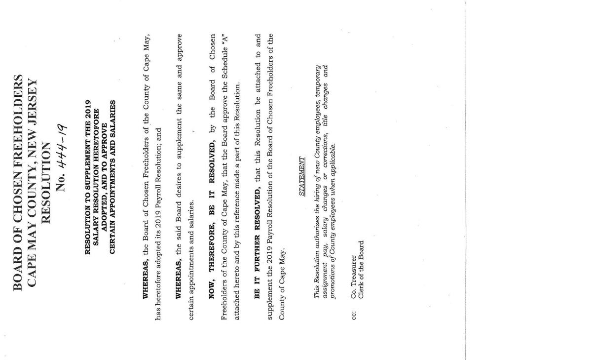 Freeholders Salary Resolution of June 11, 2019