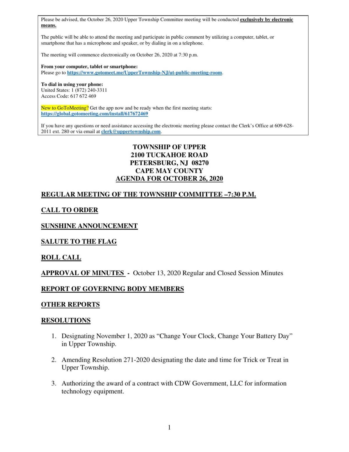 Upper Township Committee Meeting Agenda Oct. 26, 2020