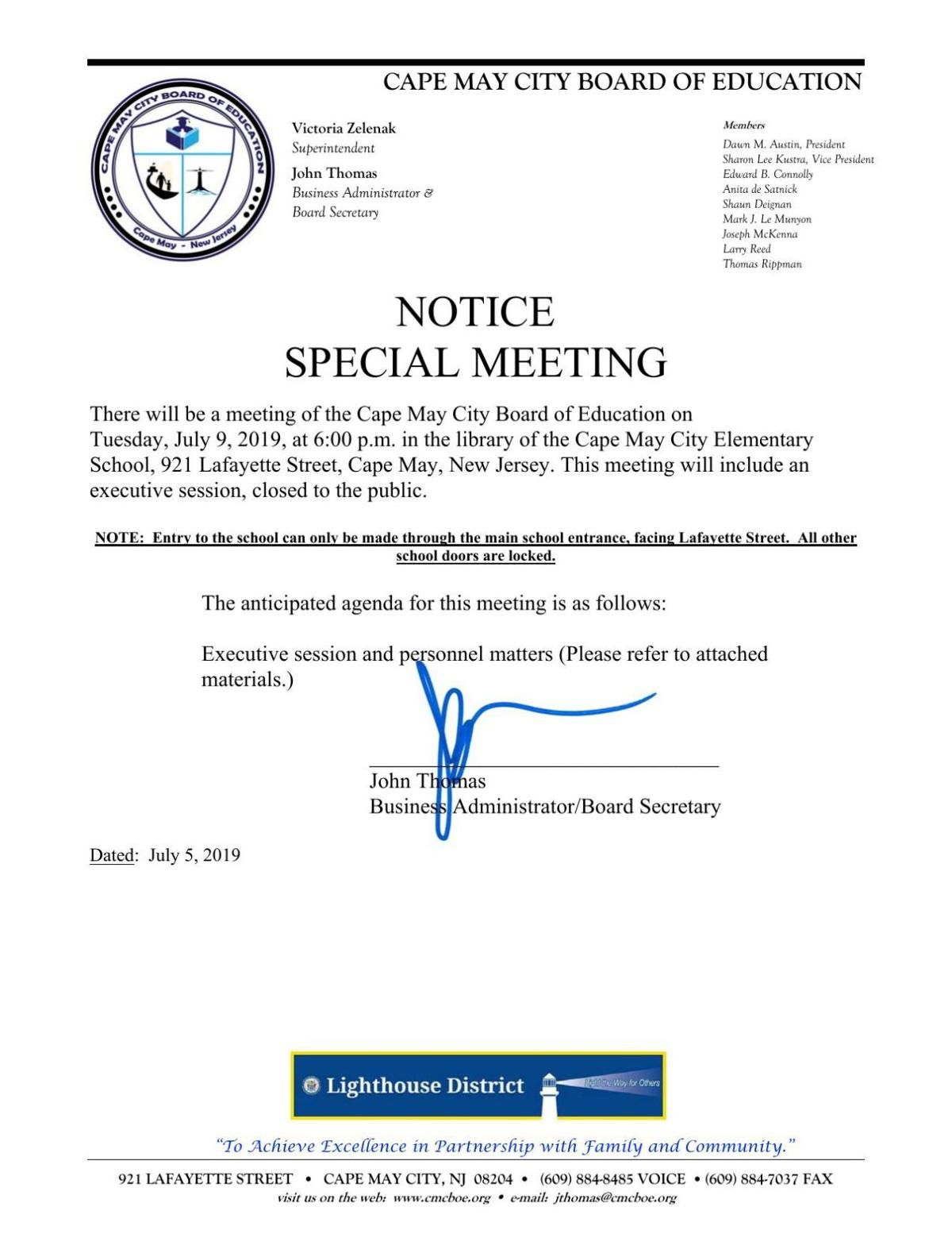 Cape May City Board of Education Special Meeting Agenda July 9, 2019