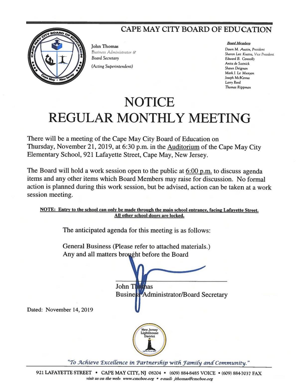 Cape May City Board of Education Agenda Nov. 21, 2019.