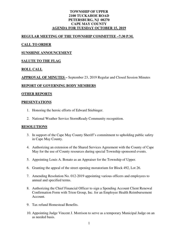 Upper Township Committee Agenda Oct. 15, 2019