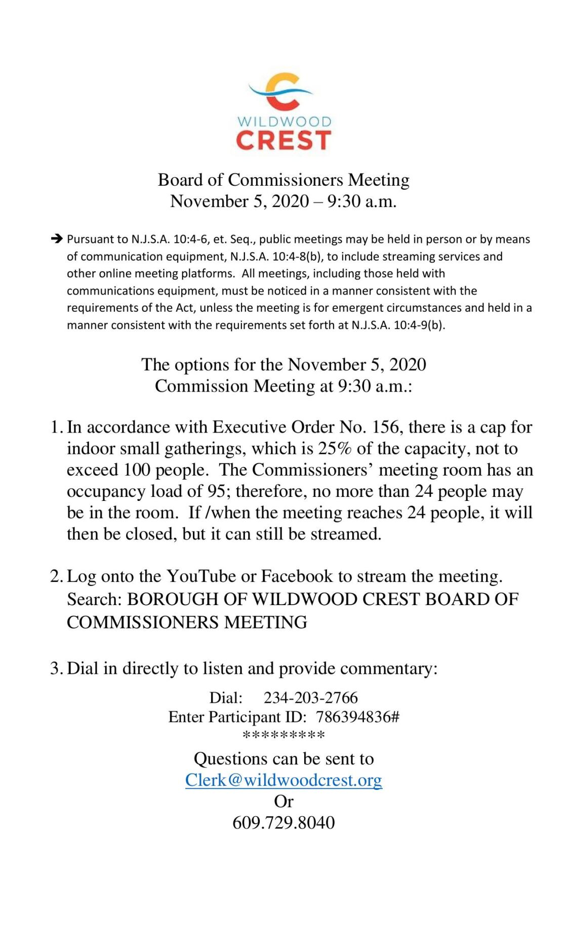 Wildwood Crest Borough Commissioners Nov. 4, 2020