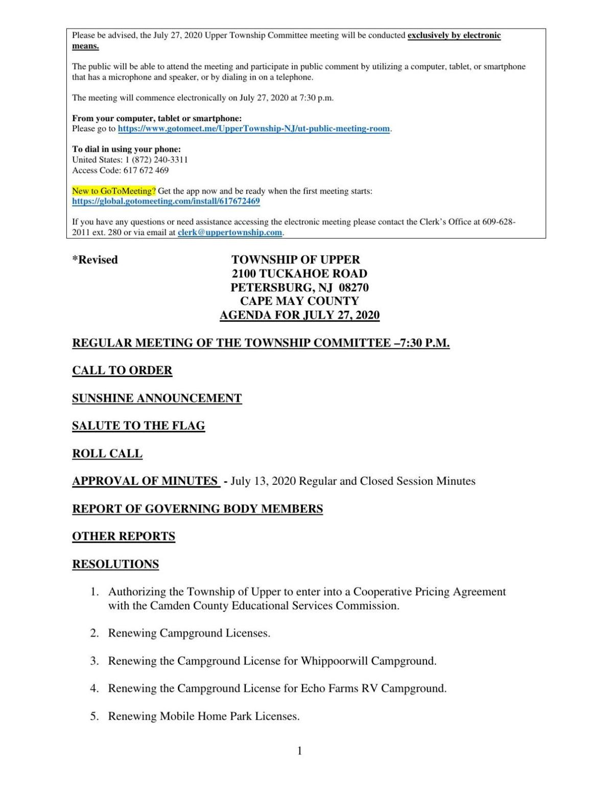 Upper Township Committee Meeting Agenda July 27, 2020