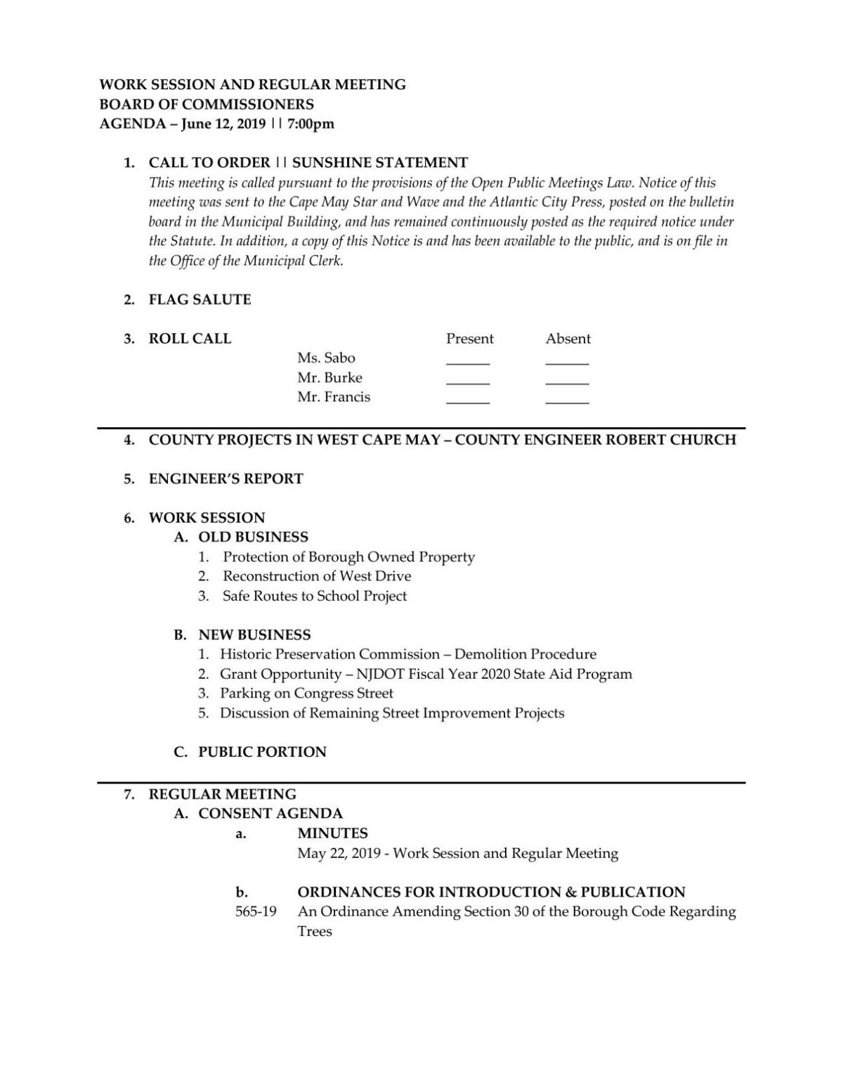 West Cape May Board of Commissioners Agenda June 12, 2019