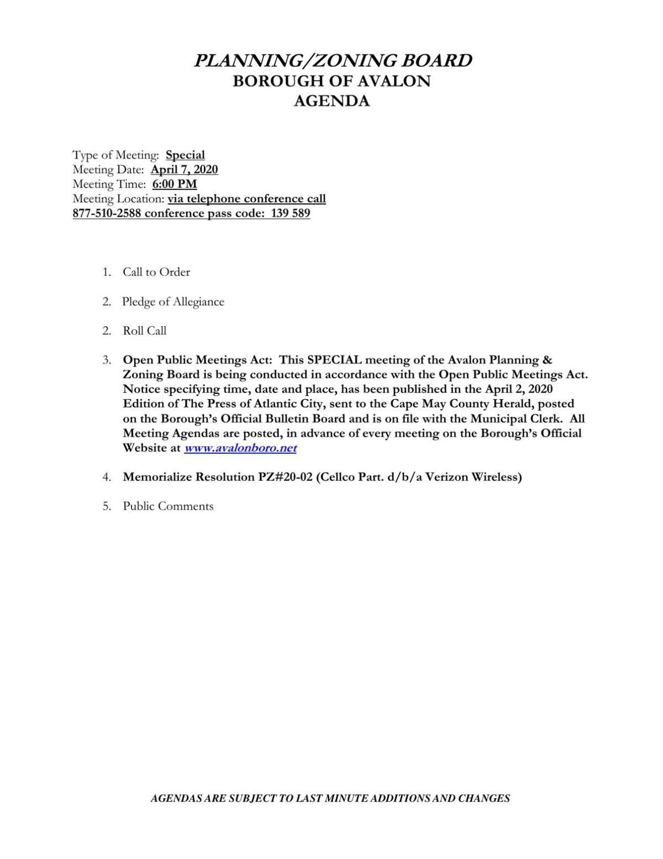 Avalon Planning-Zoning Board April 7 Agenda