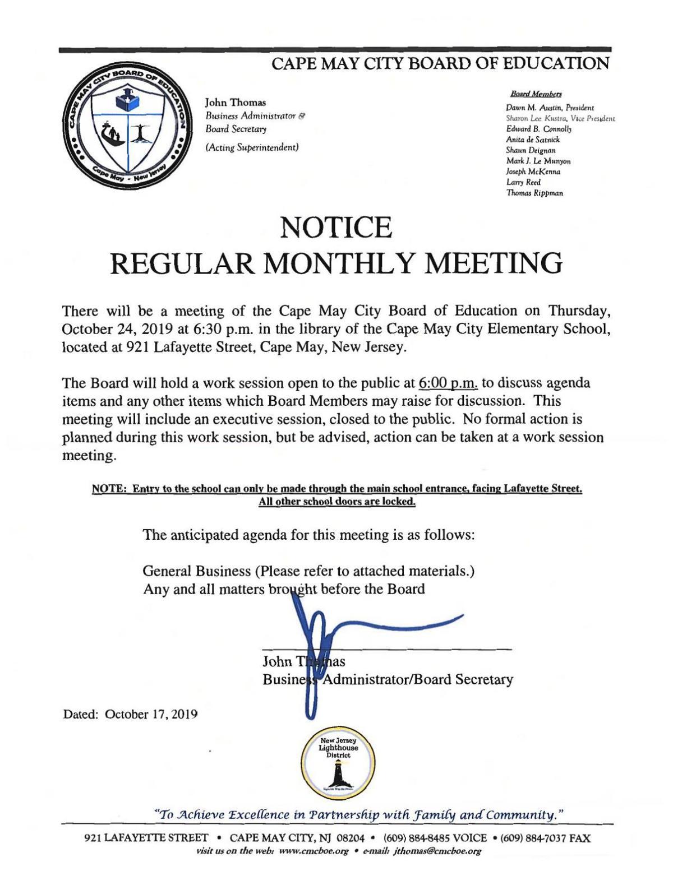 Cape May Board of Education Agenda Oct. 24, 2019