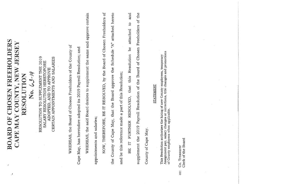 Freeholders Salary Resolution Passed Jan. 22, 2019