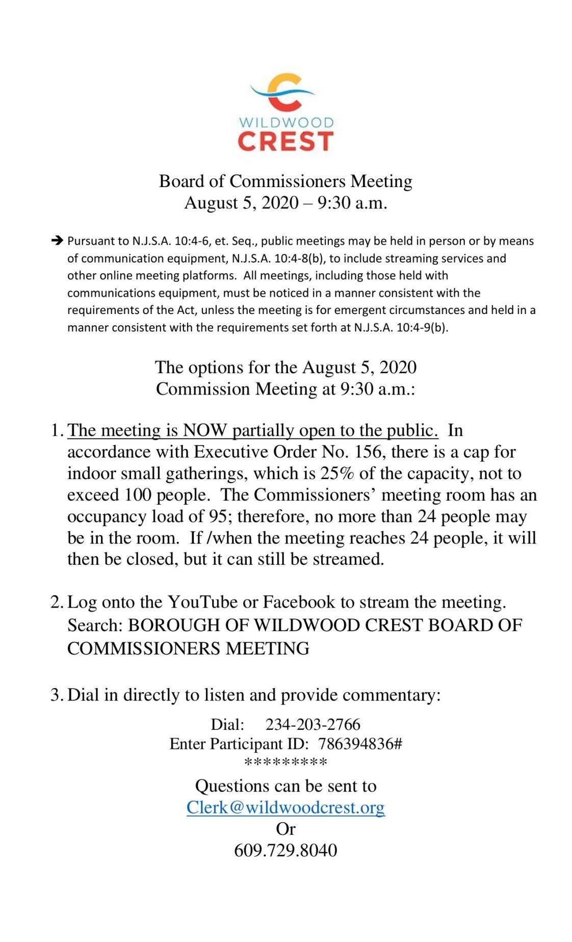 Wildwood Crest Borough Commissioners Meeting Agenda Aug. 5, 2020