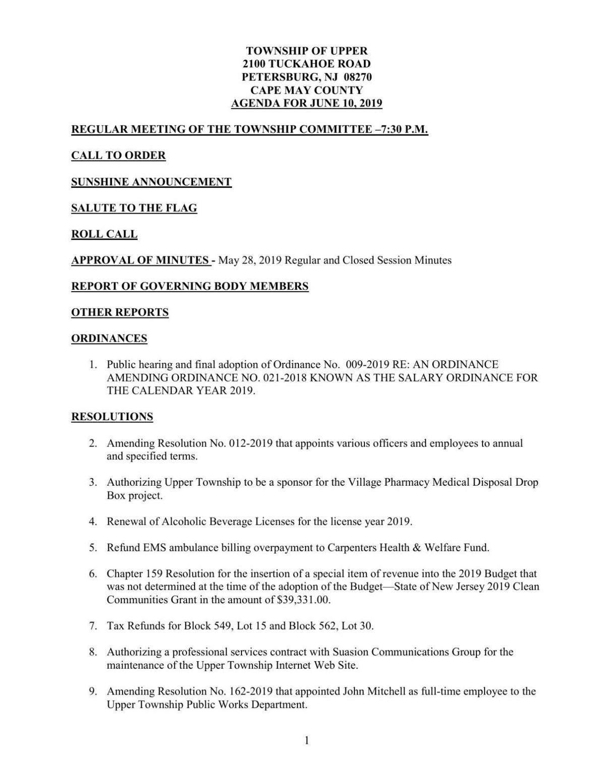 Upper Township Committee Agenda June 10, 2019