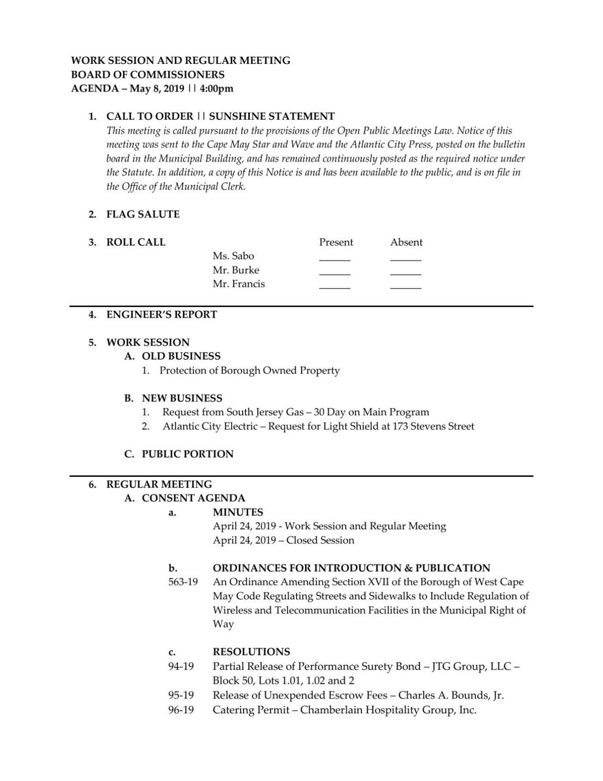 West Cape May Board of Commissioners Agenda May 8, 2019
