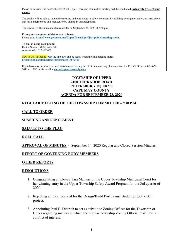 Upper Township Committee Meeting Agenda Sept. 28, 2020