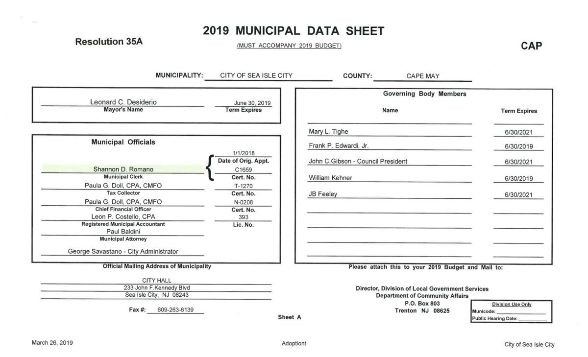 Sea Isle City Adopted Budget 2019