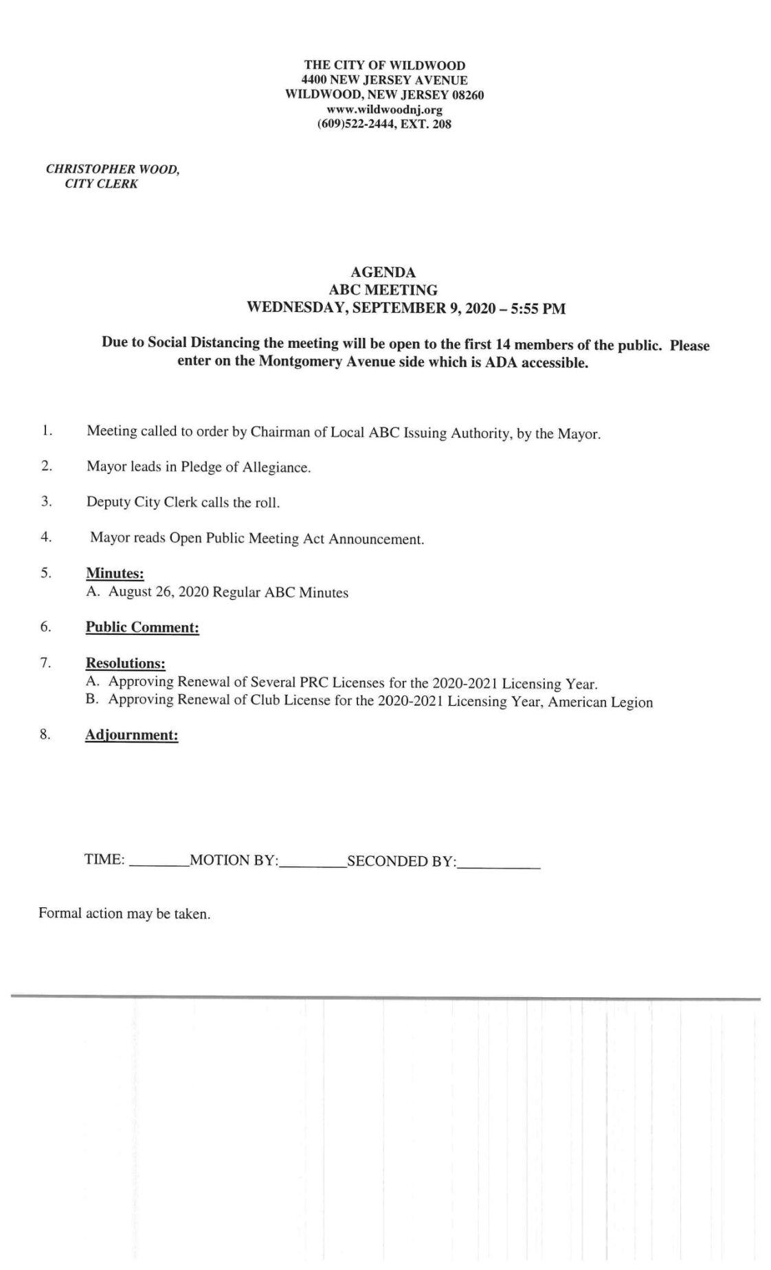 Wildwood City Commissioners Meeting Agenda Sept. 9, 2020