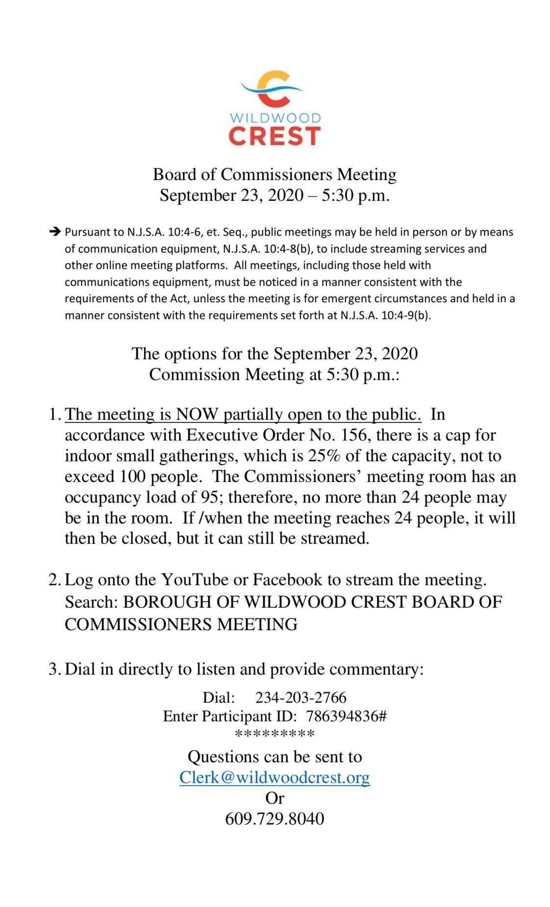 Wildwood Crest Commissioners Meeting Agenda Sept. 23, 2020