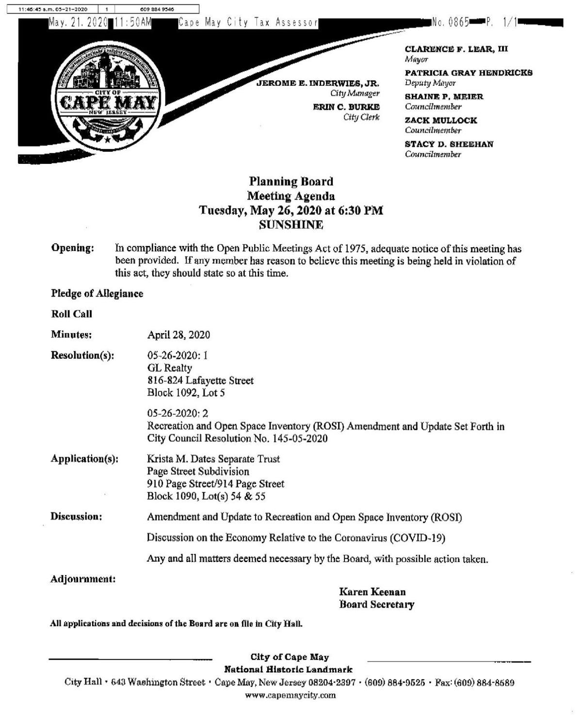 Cape May Planning Board Meeting Agenda May 26, 2020