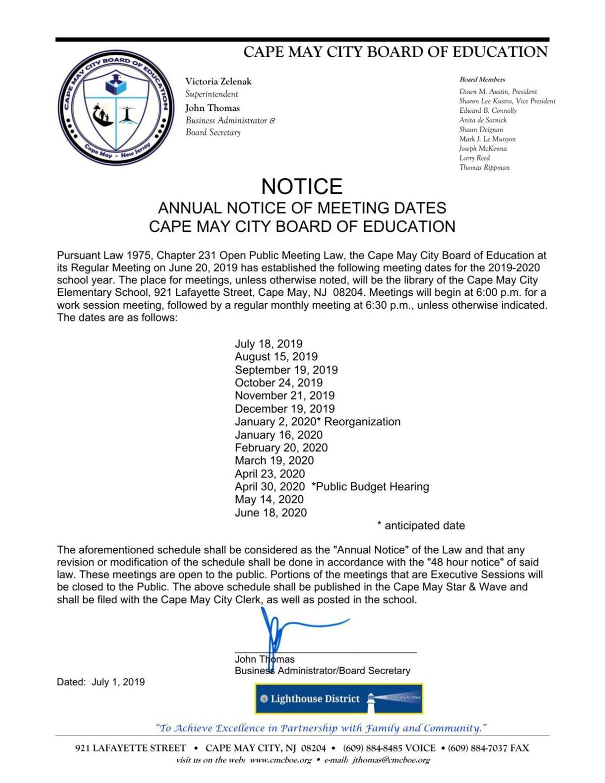 Cape May City Board of Education Notice of Meeting Dates