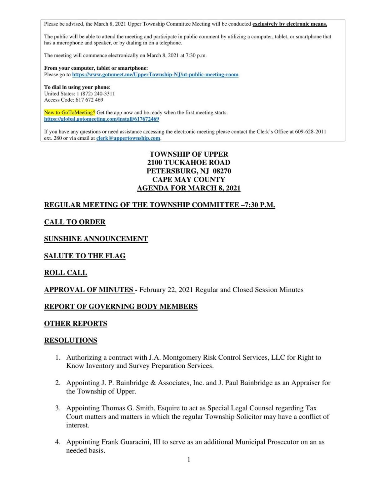 Upper Township Committee Agenda March 8, 2021