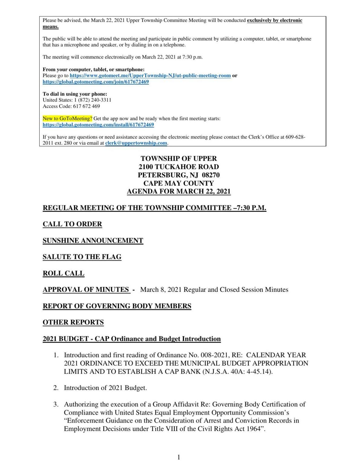 Upper Township Committee Meeting Agenda March 22, 2021