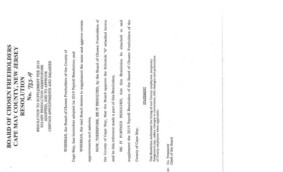 Freeholders Salary Resolution of Sept. 24, 2019