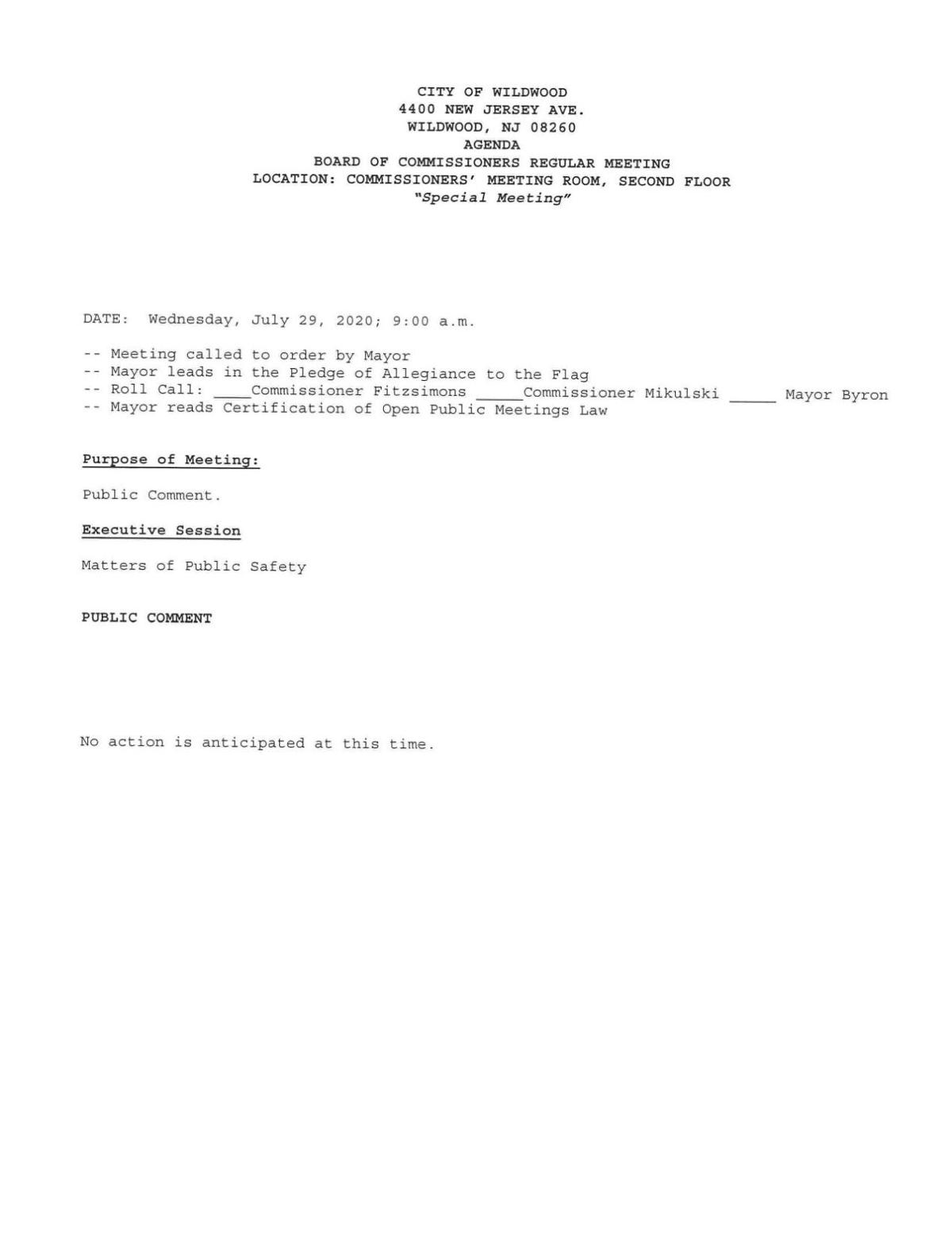Wildwood City Commissioners Meeting Agenda July 29, 2020