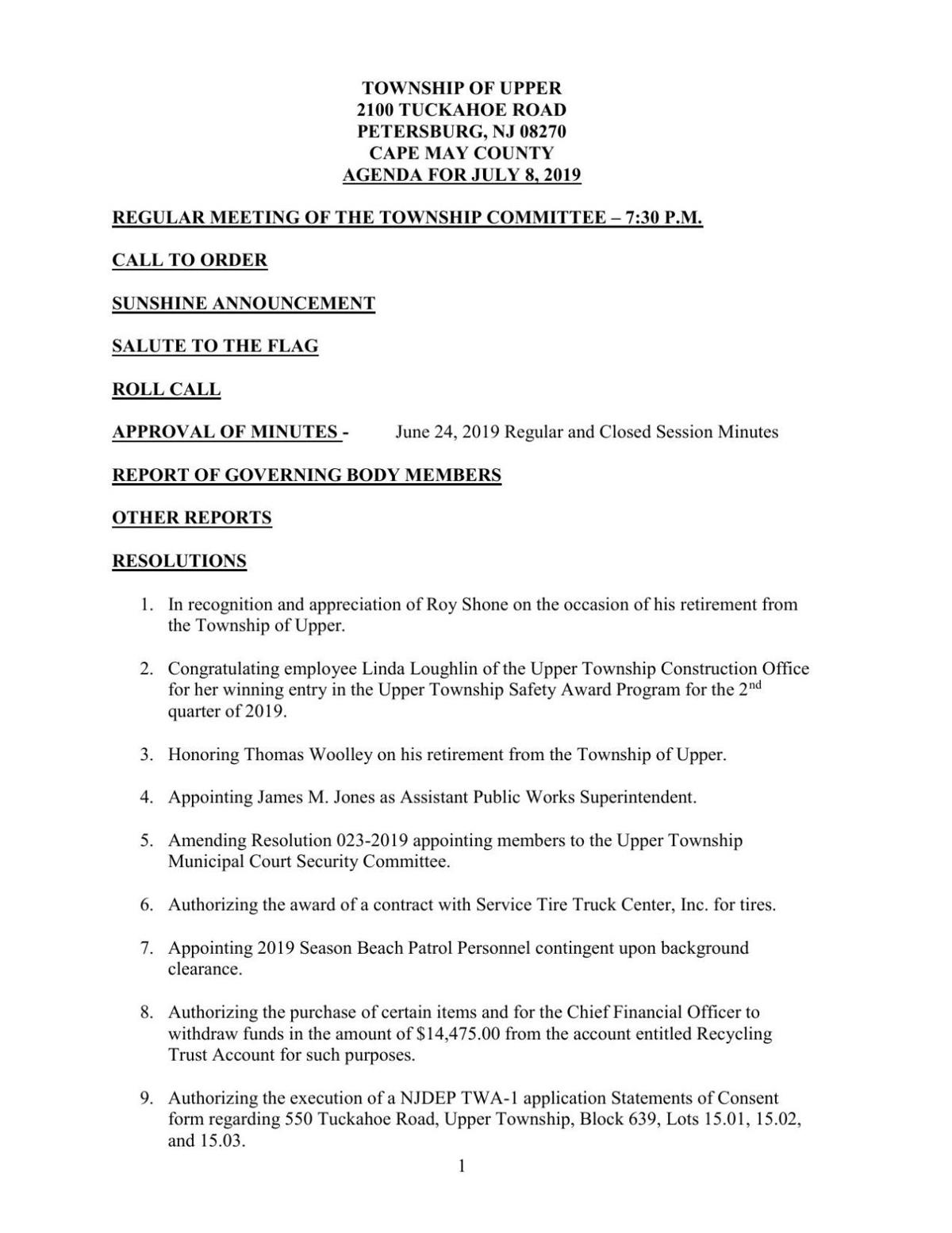 Upper Township Committee Agenda July 8, 2019