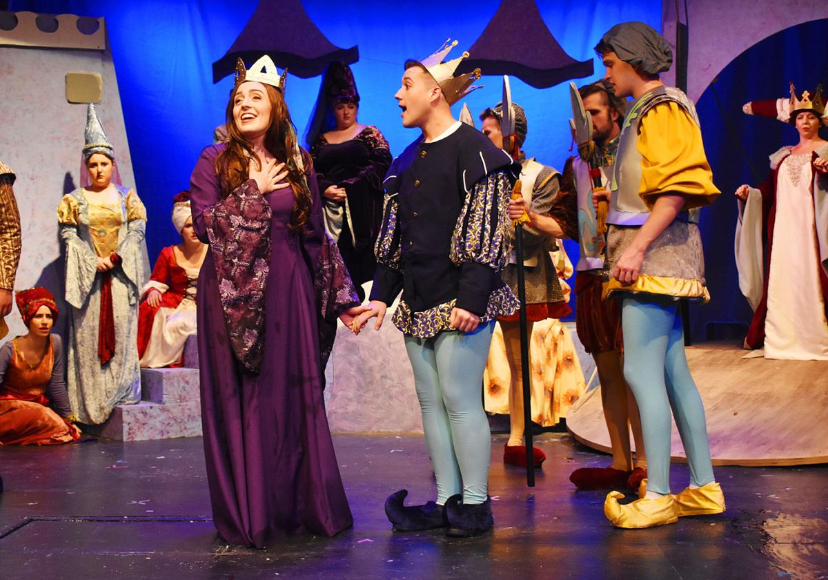 """... as Princess Winnifred, and Jacob Verhine as Prince Dauntless star in  the College Light Opera Company's final show this year, """"Once Upon A  Mattress."""
