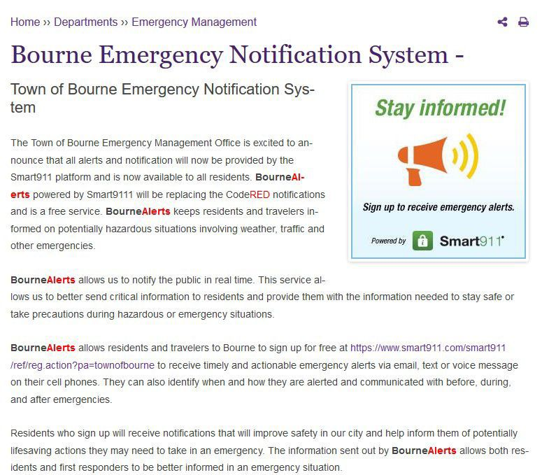 Bourne Adopts New Emergency Notification System | Bourne