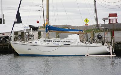 Sailboat Stuck At Falmouth Marina
