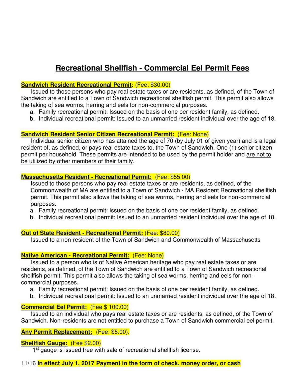Recreational Shellfish - Commercial Eel Permit Fees