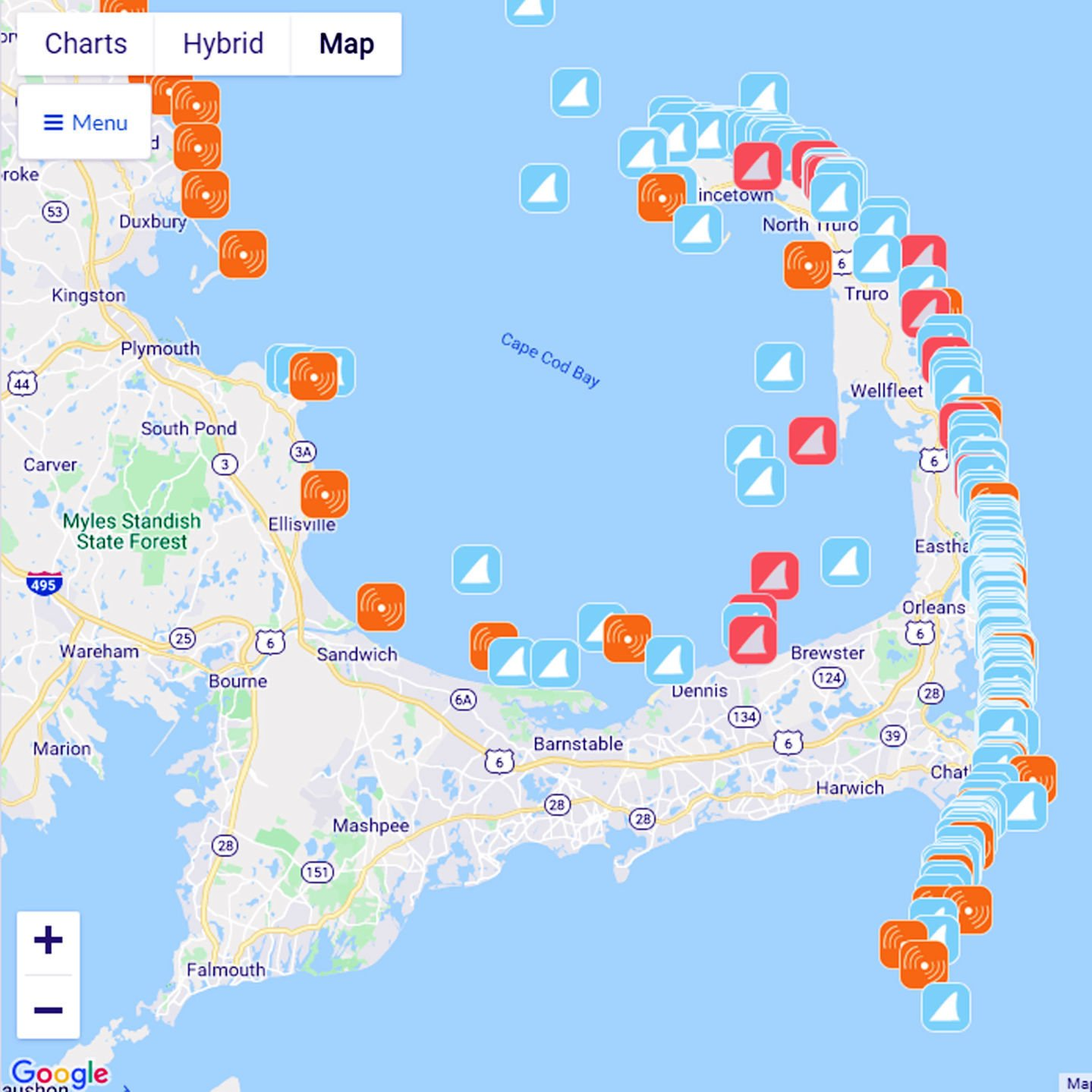 photograph about Printable Map of Cape Cod named Sharks Undertaking On to Higher Cape Radar Nearby Information
