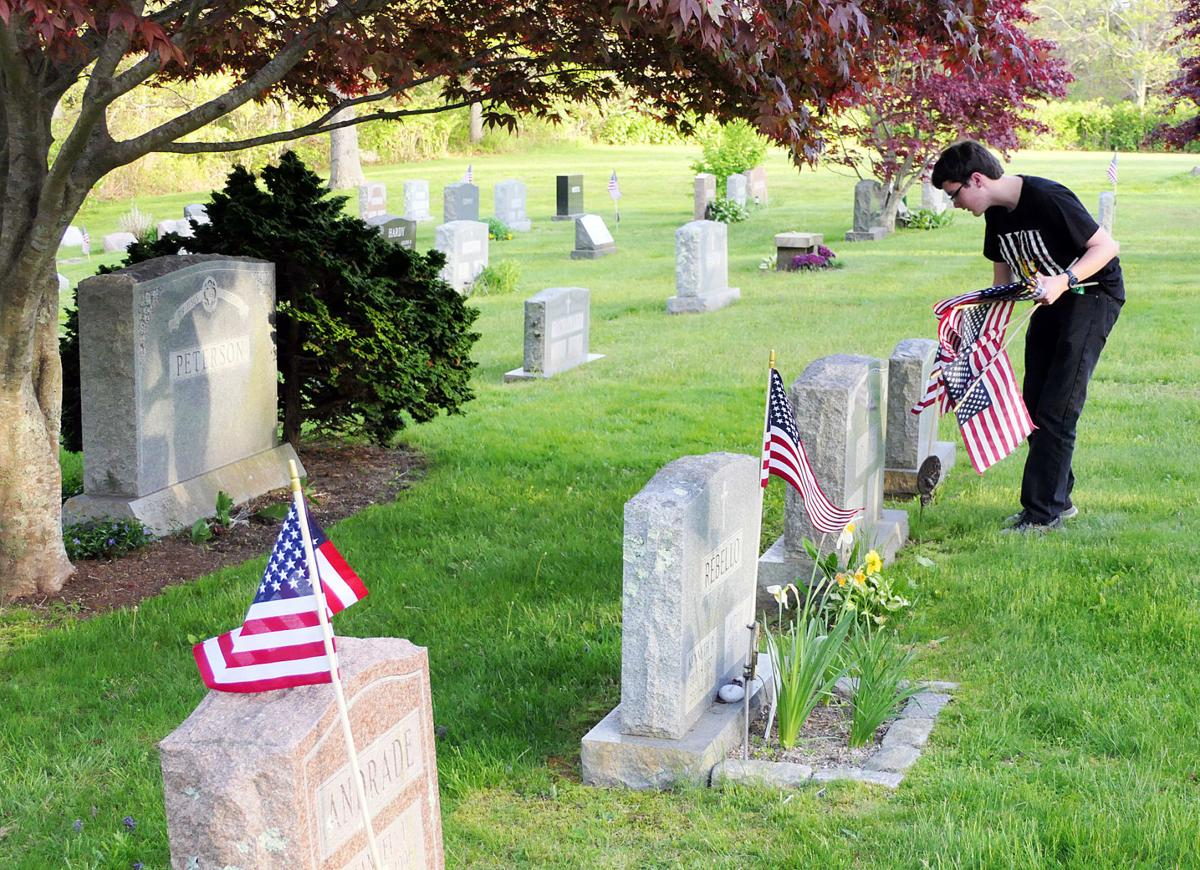 Scouts Replace Flags At Cemetery