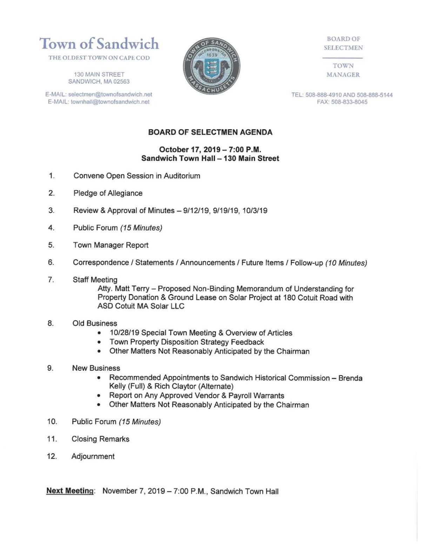 Sandwich Selectmen's Agenda - October 17, 2019