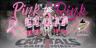 The Oahe Capitals hockey team will wear pink jerseys for their Pink the Rink  game against the Sioux Falls Flyers on Saturday. Pictured are  (from l to  r) ... 03472d3d1