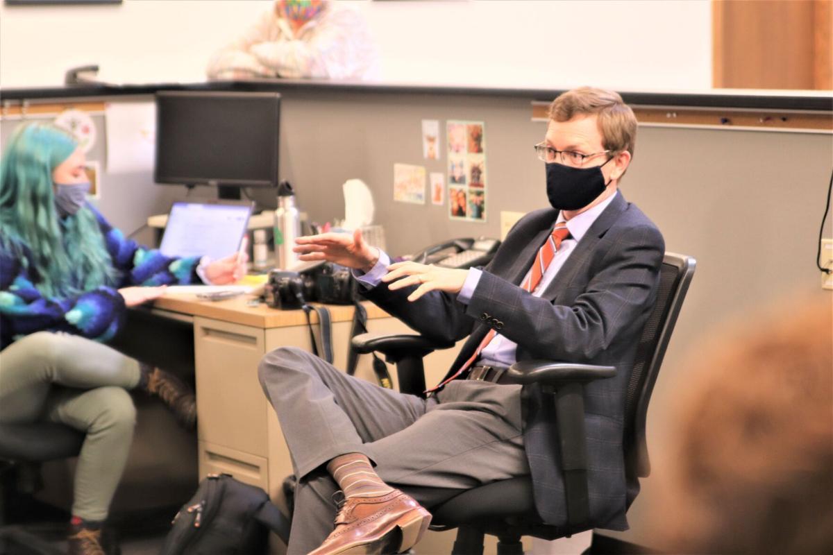 Rep. Johnson talks to Capital Journal staff 1