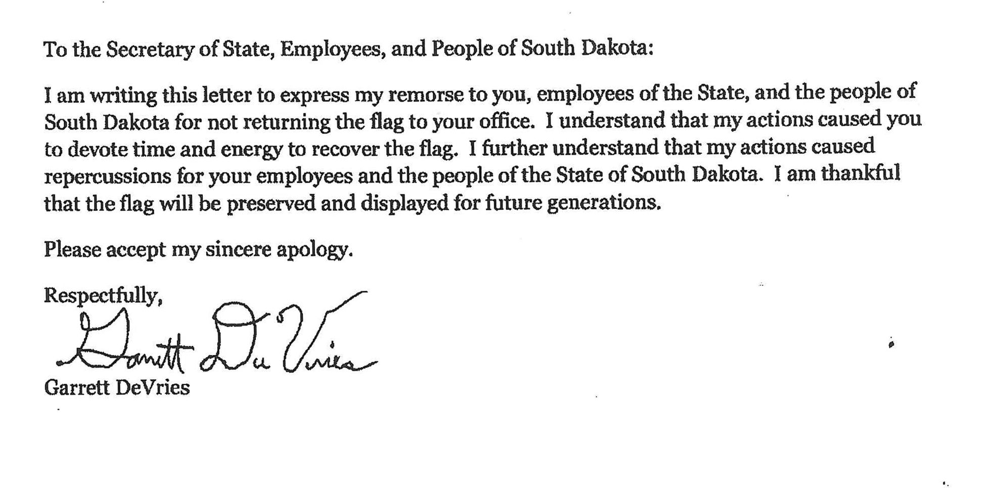 SD flag thief issues apology to states citizens Local News