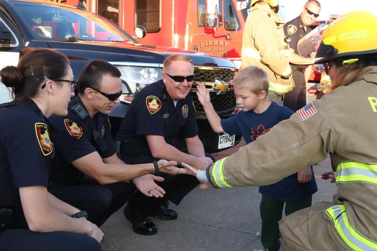 Firefighter / police send-off for three-year-old Brody