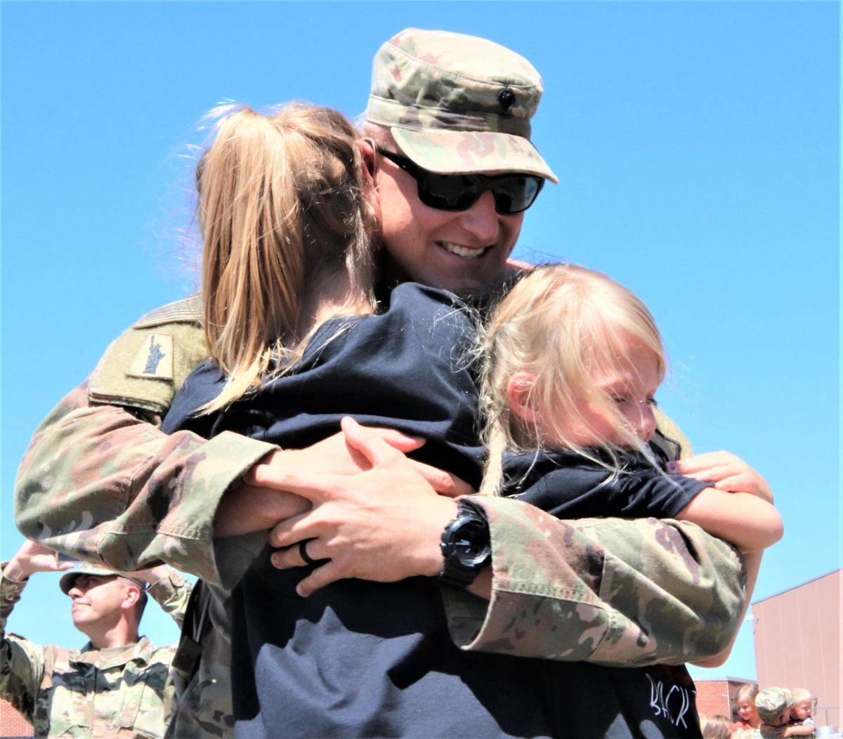 Families & friends joyously welcome back Pierre's deployed National Guard