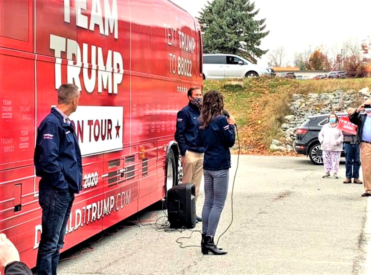 Noem with Trump bus in Bangor Maine