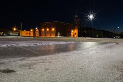 622ca6f249ea West Dakota Avenue was ice-coated Monday evening after the winter storm  passed through Pierre