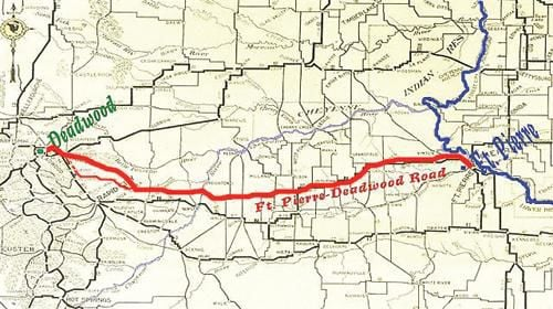 A map shows the the path of the Fort Pierre to Deadwood Trail which later became part of the Black and Yellow Trail. (Courtesy).jpg