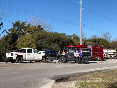 Emergency crews respond to wreck at Highway 24 and Red Barn Road