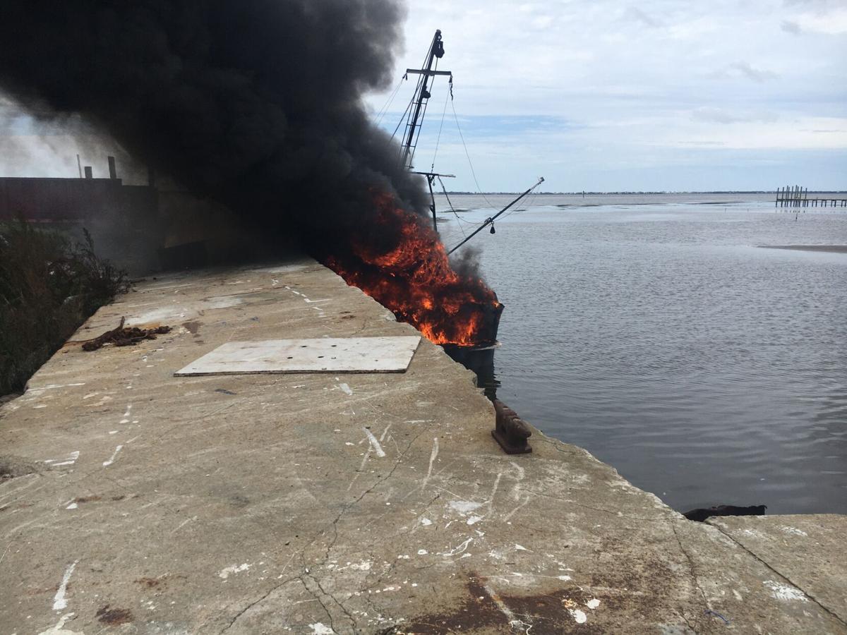 Fire destroys shrimp boat, injures man