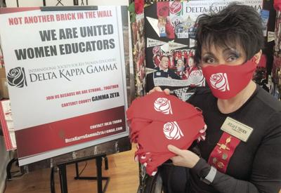 Delta Kappa Gamma produces masks for its members and offers grants