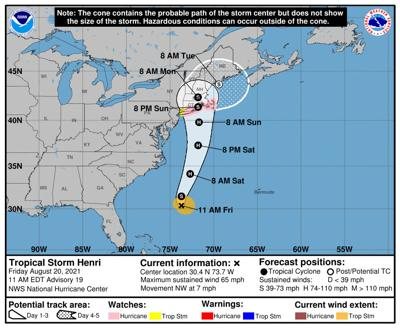 Forecasters warn of rip currents, rough surf with Tropical Storm Henri offshore