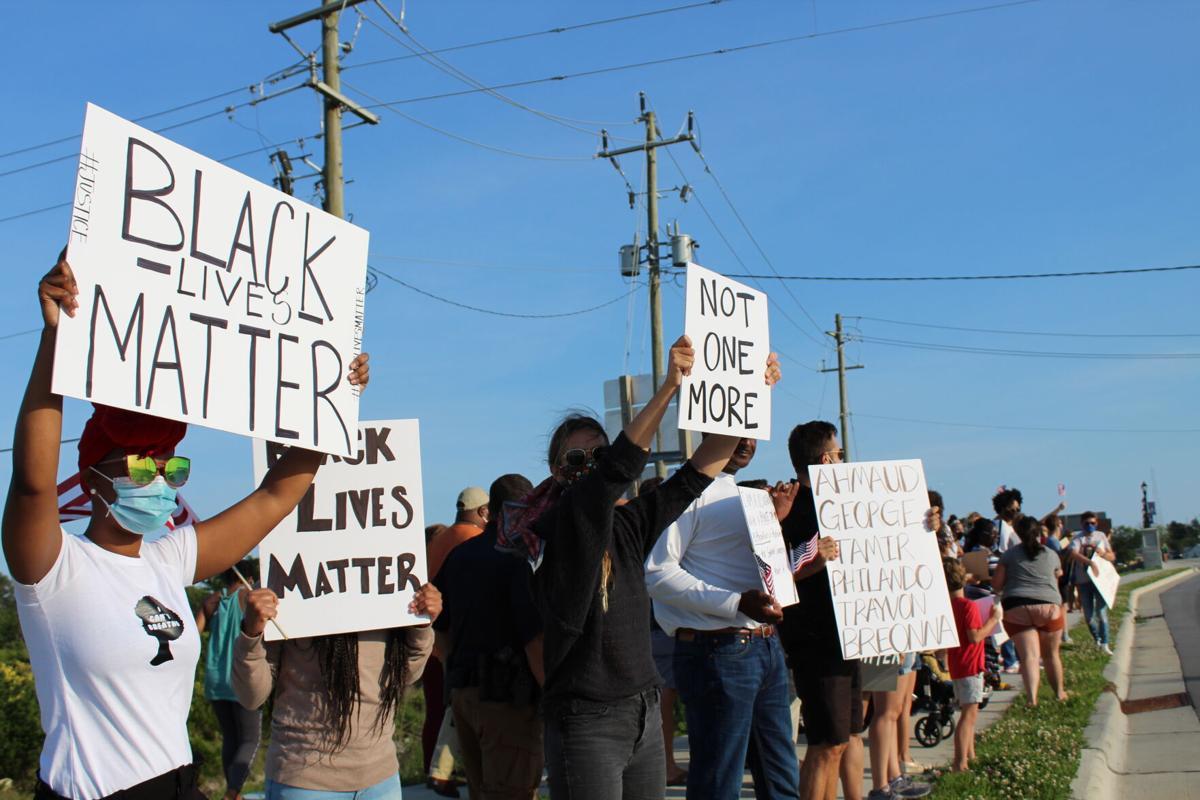 Demonstrators in Beaufort protest against police brutality