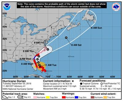 Hurricane Dorian 11 a.m. Tuesday