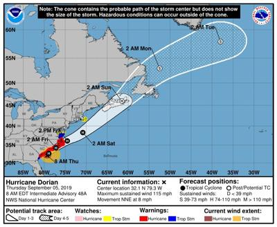 Dorian forecast to arrive late Thursday   News