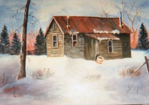 "<p>""Homestead in Winter"" is an example of Mark Shenk's artwork hanging in the Cassie Howe Algeo Gallery this month at Carteret Health Care. Most of the works are for sale. Purchase can be arranged through the Carteret Health Care Foundation office.  (Contributed photo)</p>"