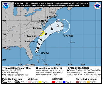 Tropical depression forms; NHC issues tropical storm watch for coast