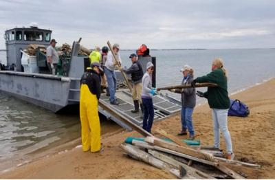 America's Boating Club of the Crystal Coast helps NPS clean at Cape Lookout